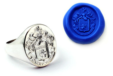 18K White Gold Family Crest Ring