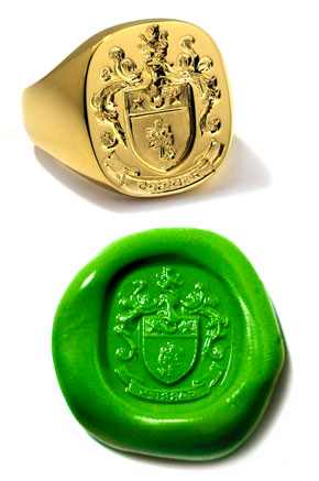 14K Yellow Gold Family Crest Ring